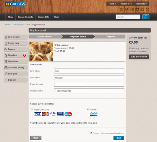 Greggs Rewards: Payment choice screen