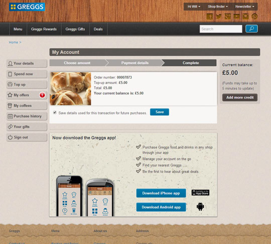Greggs Rewards: Order complete page
