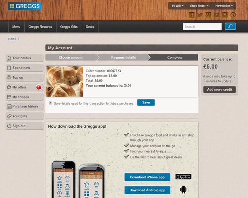 The Greggs Rewards website