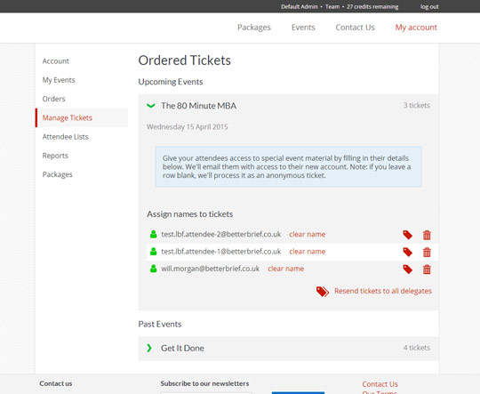 Event system: User dashboard for tickets